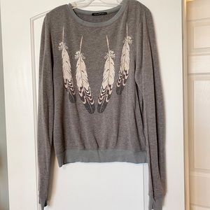 Wildfox Gray Feather Sweater Shirt